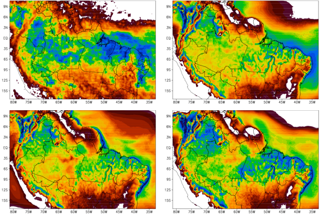 Caption: Accumulated rainfall between May 1 and May 31, 2009. (a) Estimated from TRMM satellite. (b) ED-BRAMS, using Toon et al. (1988) radiation. (c) ED-BRAMS, using Harrington et al. (2000) radiation. (d) ED-BRAMS, using Chen and Cotton (1983) radiation - Credit: Marcos Longo